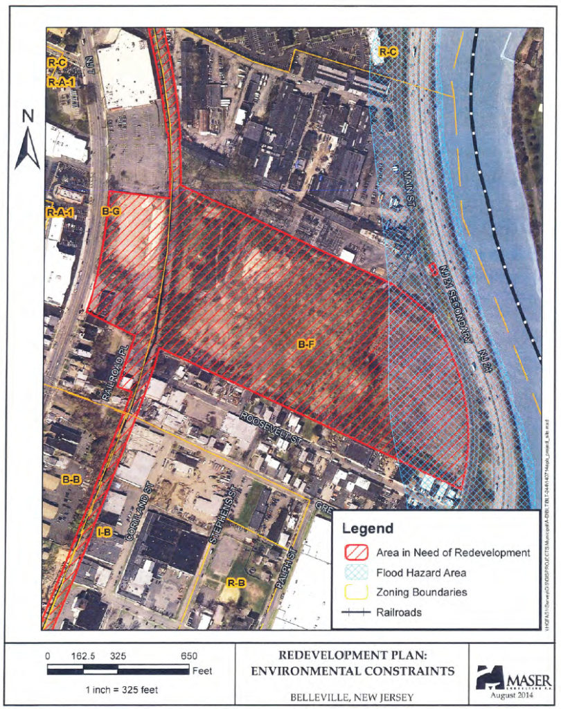The B-G Zone on the left is zoned for mixed use Commercial / Residential.<br /> The B-F Zone on the right, where the bulk of the development will occur, is zoned for Planned Retail and Light Industrial. Not Residential.<br /> Note the blue mesh area marking the declared Flood Hazard Zone.