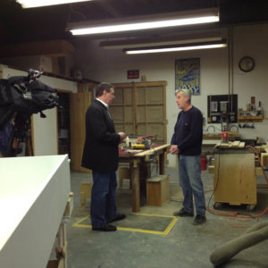 Walt Kane and Jeff Mattingly filming his portion of the interview at his woodworking shop in Belleville